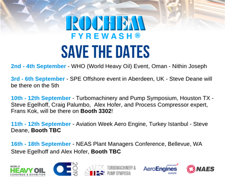 list of shows attended by Rochem team in sEPTEMBER 2019